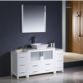 Torino 60'' White Modern Bathroom Vanity with 2 Side Cabinets and Vessel Sink, Dimensions of Vanity: 59-3/4'' W x 18-1/8'' D x 35-5/8'' H