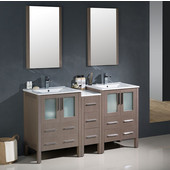 Torino 60'' Gray Oak Modern Double Sink Bathroom Vanity with Side Cabinet and Integrated Sinks, Dimensions of Vanity: 60'' W x 18-1/8'' D x 33-3/4'' H