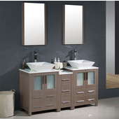 Torino 60'' Gray Oak Modern Double Sink Bathroom Vanity with Side Cabinet and Vessel Sinks, Dimensions of Vanity: 60'' W x 18-1/8'' D x 35-5/8'' H