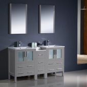 Torino 60'' Gray Modern Double Sink Bathroom Vanity Set with Mirror and Faucets, Side Cabinet & Integrated Sinks, 60'' W x 18-1/8'' D x 33-3/4'' H