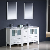 Torino 60'' White Modern Double Sink Bathroom Vanity with Side Cabinet and Integrated Sinks, Dimensions of Vanity: 60'' W x 18-1/8'' D x 33-3/4'' H