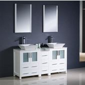 Torino 60'' White Modern Double Sink Bathroom Vanity with Side Cabinet and Vessel Sinks, Dimensions of Vanity: 60'' W x 18-1/8'' D x 35-5/8'' H
