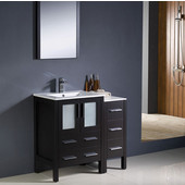Torino 36'' Espresso Modern Bathroom Vanity with Side Cabinet and Integrated Sinks, Dimensions of Vanity: 36'' W x 18-1/8'' D x 33-3/4'' H