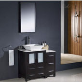 Torino 36'' Espresso Modern Bathroom Vanity with Side Cabinet and Vessel Sink, Dimensions of Vanity: 36'' W x 18-1/8'' D x 35-5/8'' H