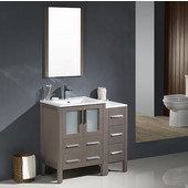 Torino 36'' Gray Oak Modern Bathroom Vanity with Side Cabinet and Integrated Sinks, Dimensions of Vanity: 36'' W x 18-1/8'' D x 33-3/4'' H