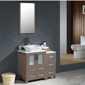 Torino 36'' Gray Oak Modern Bathroom Vanity with Side Cabinet and Vessel Sink, Dimensions of Vanity: 36'' W x 18-1/8'' D x 35-5/8'' H