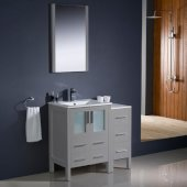 Torino 36'' Gray Modern Bathroom Vanity Set with Mirror and Faucet, Side Cabinet & Integrated Sinks, 36'' W x 18-1/8'' D x 33-3/4'' H