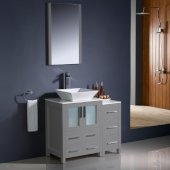 Torino 36'' Gray Modern Bathroom Vanity Set with Mirror and Faucet, Side Cabinet & Vessel Sink, 36'' W x 18-1/8'' D x 35-5/8'' H