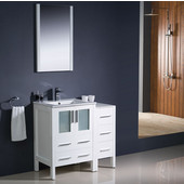 Torino 36'' White Modern Bathroom Vanity with Side Cabinet and Integrated Sink, Dimensions of Vanity: 36'' W x 18-1/8'' D x 33-3/4'' H