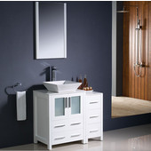 Torino 36'' White Modern Bathroom Vanity with Side Cabinet and Vessel Sink, Dimensions of Vanity: 36'' W x 18-1/8'' D x 35-5/8'' H