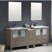 Torino 72'' Gray Oak Modern Double Sink Bathroom Vanity with Side Cabinet and Integrated Sinks, Dimensions of Vanity: 72'' W x 18-1/8'' D x 33-3/4'' H