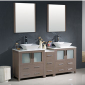 Torino 72'' Gray Oak Modern Double Sink Bathroom Vanity with Side Cabinet and Vessel Sinks, Dimensions of Vanity: 72'' W x 18-1/8'' D x 35-5/8'' H