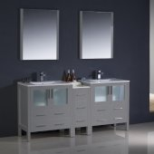 Torino 72'' Gray Modern Double Sink Bathroom Vanity Set with Mirror and Faucets, Side Cabinet & Integrated Sinks, 72'' W x 18-1/8'' D x 33-3/4'' H