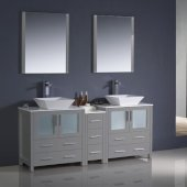 Torino 72'' Gray Modern Double Sink Bathroom Vanity Set with Mirror and Faucets, Side Cabinet & Vessel Sinks, 72'' W x 18-1/8'' D x 35-5/8'' H
