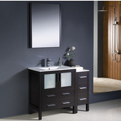 Torino 42'' Espresso Modern Bathroom Vanity with Side Cabinet and Integrated Sink, Dimensions of Vanity: 42'' W x 18-1/8'' D x 33-3/4'' H