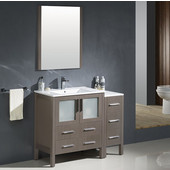 Torino 42'' Gray Oak Modern Bathroom Vanity with Side Cabinet and Integrated Sink, Dimensions of Vanity: 42'' W x 18-1/8'' D x 33-3/4'' H