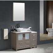 Torino 42'' Gray Oak Modern Bathroom Vanity with Side Cabinet and Vessel Sink, Dimensions of Vanity: 42'' W x 18-1/8'' D x 35-5/8'' H
