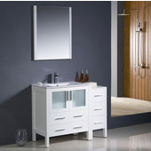 Torino 42'' White Modern Bathroom Vanity with Side Cabinet and Integrated Sink, Dimensions of Vanity: 42'' W x 18-1/8'' D x 33-3/4'' H