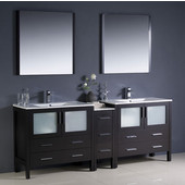 Torino 84'' Espresso Modern Double Sink Bathroom Vanity with Side Cabinet and Integrated Sinks, Dimensions of Vanity: 83-1/2'' W x 18-1/8'' D x 33-3/4'' H