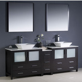 Torino 84'' Espresso Modern Double Sink Bathroom Vanity with Side Cabinet and Vessel Sinks, Dimensions of Vanity: 83-1/2'' W x 18-1/8'' D x 35-5/8'' H