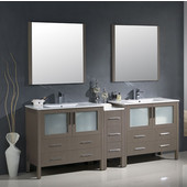 Torino 84'' Gray Oak Modern Double Sink Bathroom Vanity with Side Cabinet and Integrated Sinks, Dimensions of Vanity: 83-1/2'' W x 18-1/8'' D x 33-3/4'' H