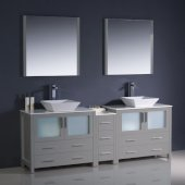 Torino 84'' Gray Modern Double Sink Bathroom Vanity Set with Mirror and Faucets, Side Cabinet & Vessel Sinks, 83-1/2'' W x 18-1/8'' D x 35-5/8'' H
