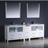 Torino 84'' White Modern Double Sink Bathroom Vanity with Side Cabinet and Integrated Sinks, Dimensions of Vanity: 83-1/2'' W x 18-1/8'' D x 33-3/4'' H