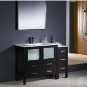 Torino 48'' Espresso Modern Bathroom Vanity with Side Cabinet and Integrated Sink, Dimensions of Vanity: 47-1/2'' W x 18-1/8'' D x 33-3/4'' H