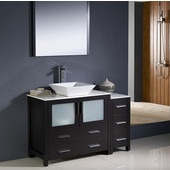 Torino 48'' Espresso Modern Bathroom Vanity with Side Cabinet and Vessel Sink, Dimensions of Vanity: 47-1/2'' W x 18-1/8'' D x 35-5/8'' H