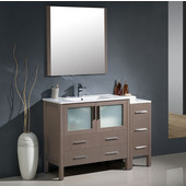 Torino 48'' Gray Oak Modern Bathroom Vanity with Side Cabinet and Integrated Sink, Dimensions of Vanity: 47-1/2'' W x 18-1/8'' D x 33-3/4'' H