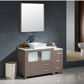 Torino 48'' Gray Oak Modern Bathroom Vanity with Side Cabinet and Vessel Sink, Dimensions of Vanity: 47-1/2'' W x 18-1/8'' D x 35-5/8'' H