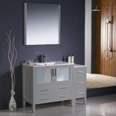 Torino 48'' Gray Modern Bathroom Vanity Set with Mirror and Faucet, Side Cabinet & Integrated Sink, 47-1/2'' W x 18-1/8'' D x 33-3/4'' H