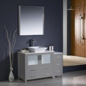 Torino 48'' Gray Modern Bathroom Vanity Set with Mirror and Faucet, Side Cabinet & Vessel Sink, 47-1/2'' W x 18-1/8'' D x 35-5/8'' H