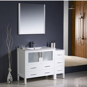 Torino 48'' White Modern Bathroom Vanity with Side Cabinet and Integrated Sink, Dimensions of Vanity: 47-1/2'' W x 18-1/8'' D x 33-3/4'' H