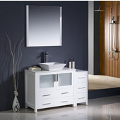 Torino 48'' White Modern Bathroom Vanity with Side Cabinet and Vessel Sink, Dimensions of Vanity: 47-1/2'' W x 18-1/8'' D x 35-5/8'' H