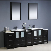 Torino 84'' Espresso Modern Double Sink Bathroom Vanity with 3 Side Cabinets and Integrated Sinks, Dimensions of Vanity: 84'' W x 18-1/8'' D x 33-3/4'' H
