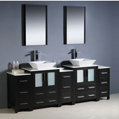 Torino 84'' Espresso Modern Double Sink Bathroom Vanity with 3 Side Cabinets and Vessel Sinks, Dimensions of Vanity: 84'' W x 18-1/8'' D x 35-5/8'' H