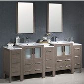 Torino 84'' Gray Oak Modern Double Sink Bathroom Vanity with 3 Side Cabinets and Integrated Sinks, Dimensions of Vanity: 84'' W x 18-1/8'' D x 33-3/4'' H