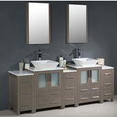 Torino 84'' Gray Oak Modern Double Sink Bathroom Vanity with 3 Side Cabinets and Vessel Sinks, Dimensions of Vanity: 84'' W x 18-1/8'' D x 35-5/8'' H