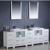 Torino 84'' White Modern Double Sink Bathroom Vanity with 3 Side Cabinets and Integrated Sinks, Dimensions of Vanity: 84'' W x 18-1/8'' D x 33-3/4'' H