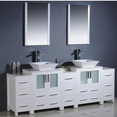 Torino 84'' White Modern Double Sink Bathroom Vanity with 3 Side Cabinets and Vessel Sinks, Dimensions of Vanity: 84'' W x 18-1/8'' D x 35-5/8'' H