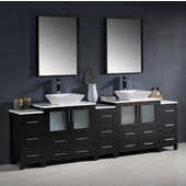 Torino 96'' Espresso Modern Double Sink Bathroom Vanity with 3 Side Cabinets and Vessel Sinks, Dimensions of Vanity: 96'' W x 18-1/8'' D x 35-5/8'' H