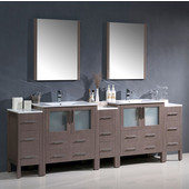 Torino 96'' Gray Oak Modern Double Sink Bathroom Vanity with 3 Side Cabinets and Integrated Sinks, Dimensions of Vanity: 96'' W x 18-1/8'' D x 33-3/4'' H