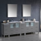 Torino 96'' Gray Modern Double Sink Bathroom Vanity Set with Mirror and Faucets, 3 Side Cabinets & Integrated Sinks, 96'' W x 18-1/8'' D x 33-3/4'' H