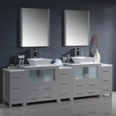 Torino 96'' Gray Modern Double Sink Bathroom Vanity Set with Mirror and Faucets, 3 Side Cabinets & Vessel Sinks, 96'' W x 18-1/8'' D x 35-5/8'' H