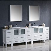 Torino 96'' White Modern Double Sink Bathroom Vanity with 3 Side Cabinets and Integrated Sinks, Dimensions of Vanity: 96'' W x 18-1/8'' D x 33-3/4'' H