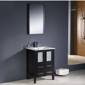 Torino 24'' Espresso Modern Bathroom Vanity with Integrated Sink, Dimensions of Vanity: 24'' W x 18-1/8'' D x 33-3/4'' H