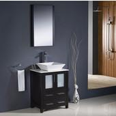Torino 24'' Espresso Modern Bathroom Vanity with Vessel Sink, Dimensions of Vanity: 24'' W x 18-1/8'' D x 35-5/8'' H
