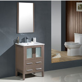 Torino 24'' Gray Oak Modern Bathroom Vanity with Integrated Sink, Dimensions of Vanity: 24'' W x 18-1/8'' D x 33-3/4'' H