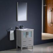 Torino 24'' Gray Modern Bathroom Vanity Set with Mirror and Faucet, Integrated Sink, 24'' W x 18-1/8'' D x 33-3/4'' H